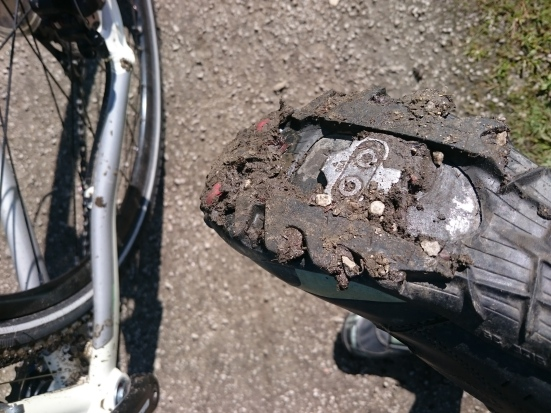 Cleats caked in mud on Leeds Liverpool canal
